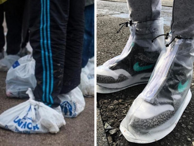 暴雨中的貧富差距!萬元球鞋專用「防水鞋套」,不怕擋住牌子