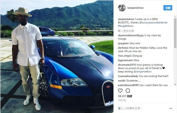 影帝就是獨鐘土豪金!傑米·福克斯與他的布加迪Veyron(圖/翻攝自Jamie Foxx Instagram)