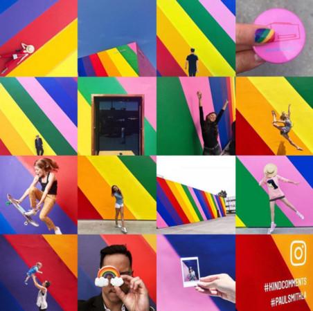 把粉紅牆變彩虹了(圖/翻攝自paulsmithdesign IG)
