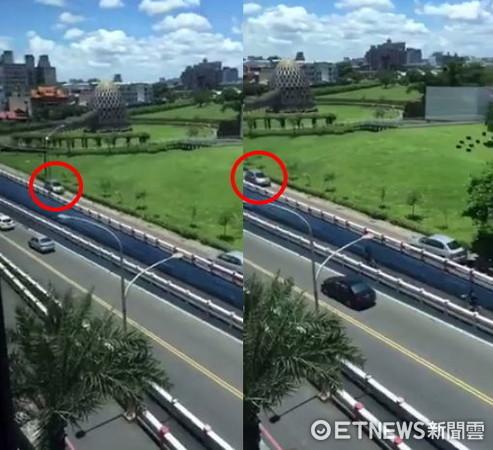 嘉義市秀泰影城旁的文化路出現一幕奇景,7輛順向車倒退禮讓一輛逆向車。(圖/「綠豆嘉義人」臉書粉專授權提供)