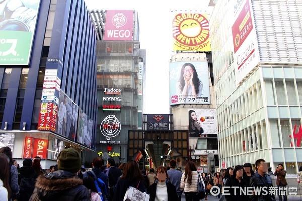大阪心齋橋,旅客,赴日旅客人潮,大阪街頭(圖/記者蔡玟君攝)。(圖/記者蔡玟君攝)