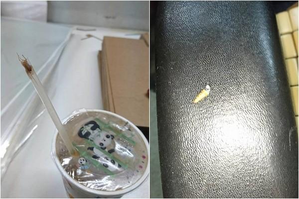 ▲▼網友喝米漿吸到蟑螂,他還吐出半截蟑螂肚。(圖/翻攝自爆料公社)