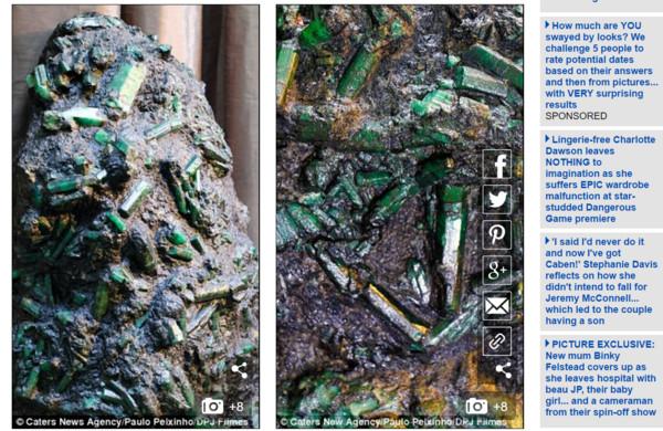 ▲祖母綠原石。(圖/翻攝自《每日郵報》)