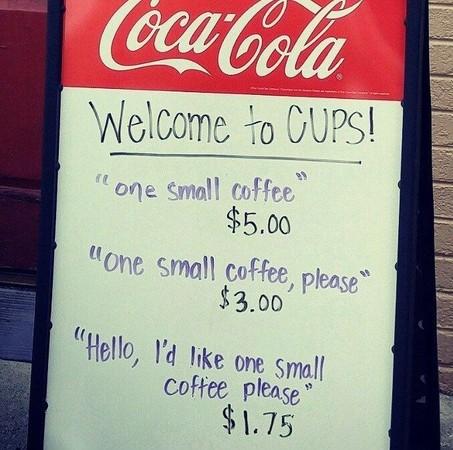 受夠沒禮貌的客人!這間咖啡店只要說「哈囉」就便宜100塊。(圖/取自BoredPanda)
