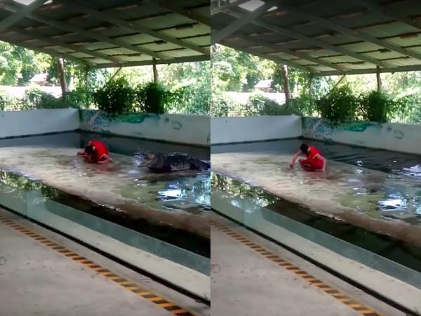 ▲泰國馴獸員把頭放入鱷魚嘴巴中(圖/翻攝自YouTube)