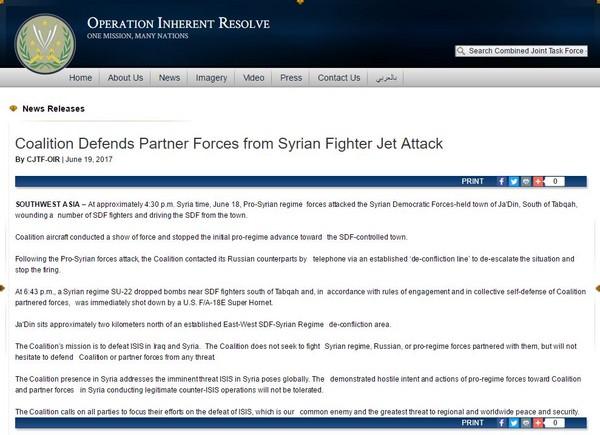 ▲▼多國聯合特遣部隊(Combined JointTask Force)表示,美軍擊落敘利亞政府軍「蘇愷22」是履行「集體自衛權」。(圖/翻攝自聯合特遣隊官網)