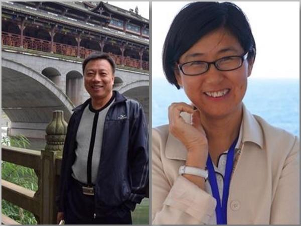中國人權律師王宇(右),獲得美國律師協會的國際人權獎。遭到中國秘密關押一年多後,她去年7月獲釋。左為夫婿包龍軍。(翻攝Human Rights Watch)