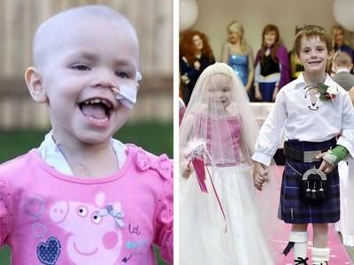 5歲癌童披婚紗忘卻病痛 牽玩伴「結成終生摯友」親友淚崩