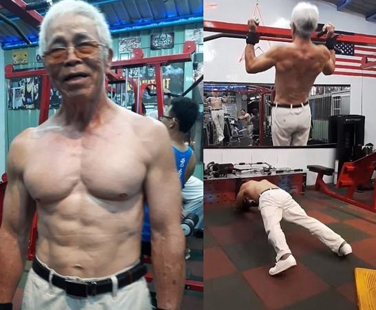 ▲史上最狂健美先生!72歲阿伯「冰塊肌」拉單槓、滾輪 輕鬆模樣打趴一票人(圖/翻攝自爆料公社)