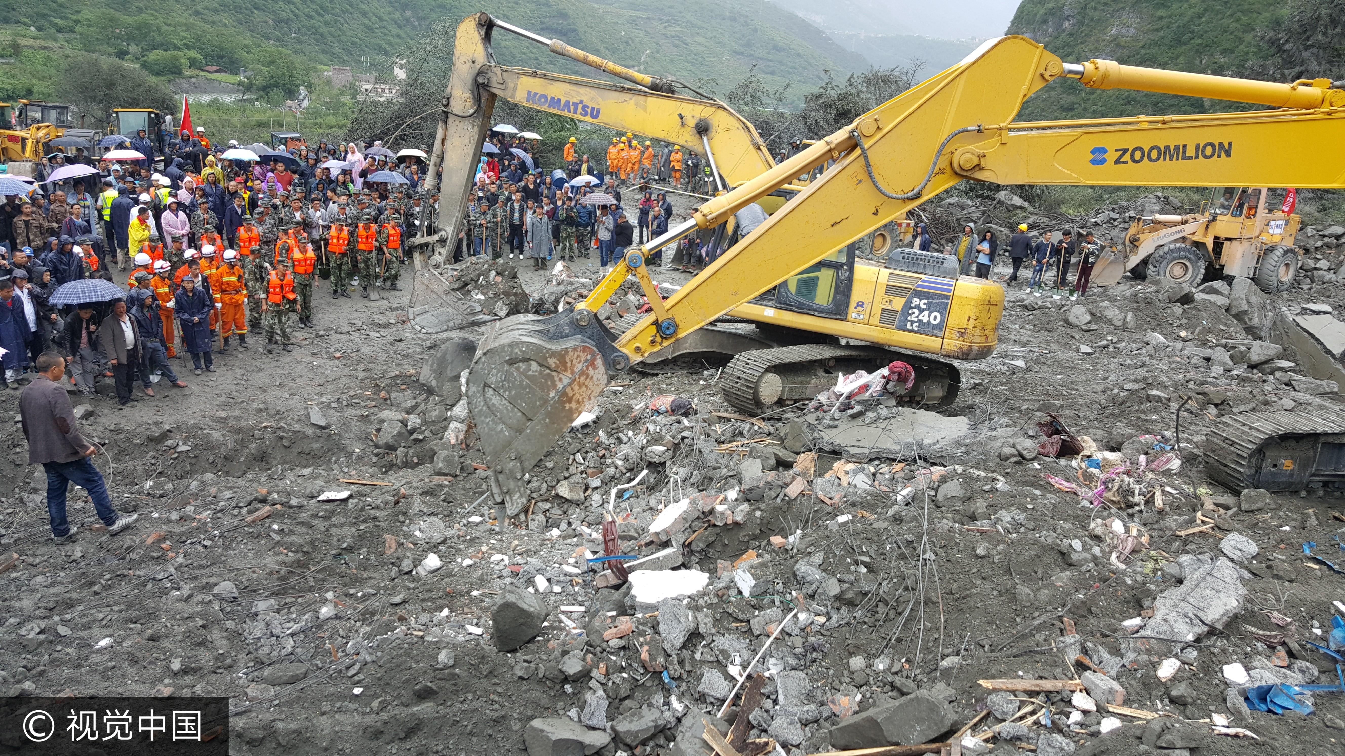 ▲四川茂縣山崩意外,整村被活埋。(圖/CFP)