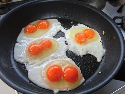 連續敲出四顆雙黃蛋!隔天早上再敲四顆..結果果然是奇蹟呢