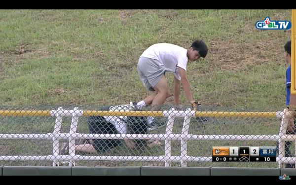 ▲女球迷被推開倒地沒撿到全壘打 聯盟暖男貼心送球。(圖/截自CPBL TV)
