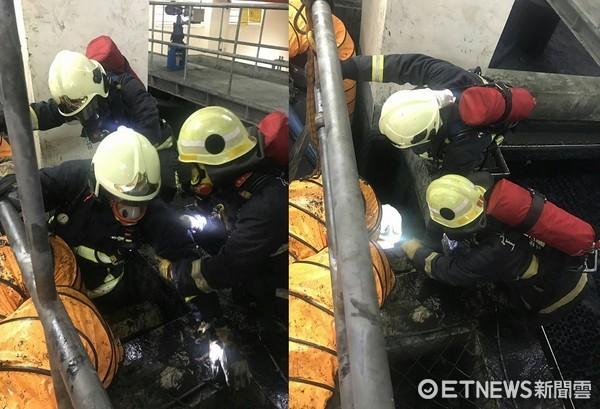 燿華電子宜蘭廠5工人落化學池,4人死亡、1人插管。(圖/宜蘭消防局提供)
