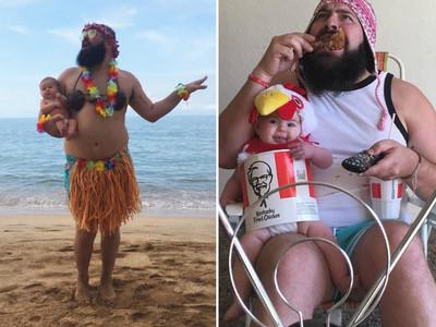 表演慾過旺的瘋奶爸...把寶寶扮成「桶雞」只是第一招XD