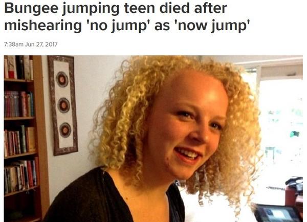 「別跳」聽成「現在跳」 17歲女高空彈跳被菜英文害死。(圖/翻攝自澳洲《9news》)