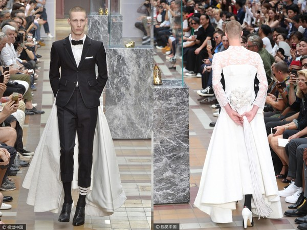 ▲Thom Browne 2018春夏讓男人穿婚紗(圖/CFP)