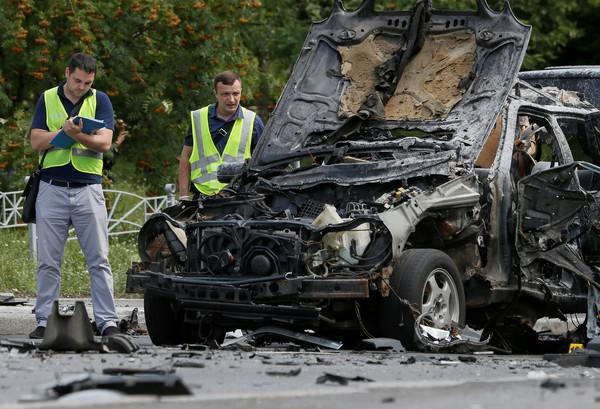 ▲烏克蘭基輔汽車炸彈爆炸,情報單位軍官被炸死。(圖/路透社)