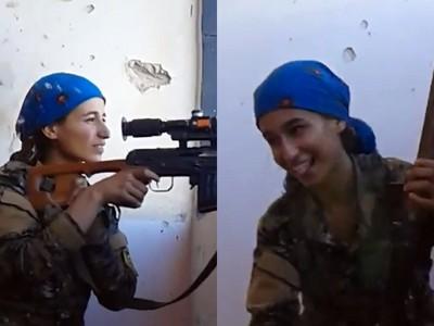 與ISIS狙擊手「互射對決」 庫德族女兵撇頭閃子彈...還在笑