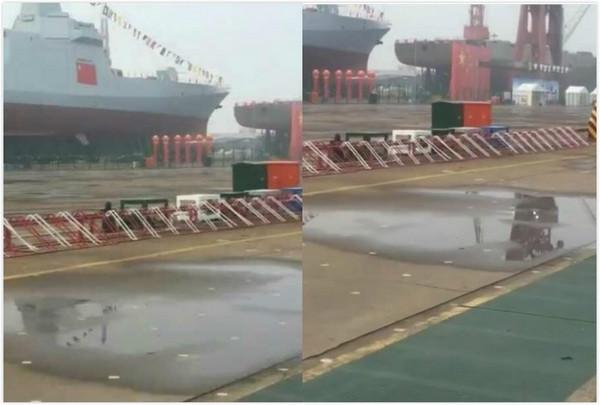 ▲▼中國055型驅逐艦28日下水。(圖/翻攝angadow微博)