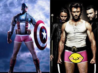 超級英雄下身失蹤,只剩超緊粉紅小褲褲一件(羞)