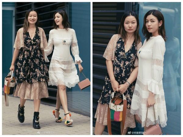 ▲陳妍希穿白色透膚蕾絲裙(圖/翻攝自明星愛街拍微博)