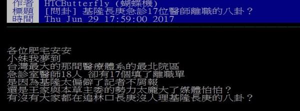 網友爆基隆長庚17名急診醫師提離職 院長:一封辭呈都沒簽。(圖/翻攝PTT)