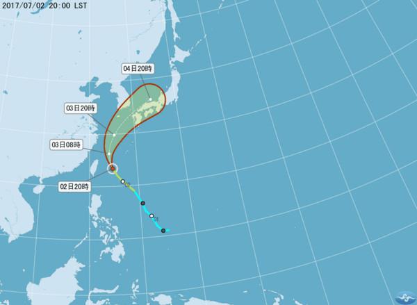 ▲▼南瑪都颱風將在2日晚間到3日上午最接近台灣。(圖/中央氣象局)