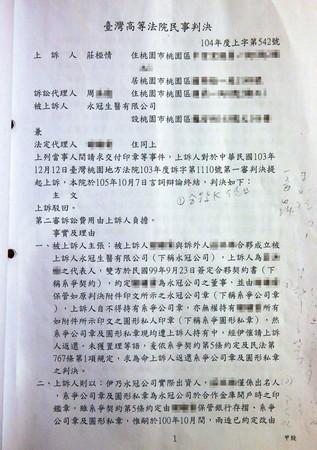 這份判決書判莊小姐敗訴,卻沒開過庭,是名符其實的未審先判。
