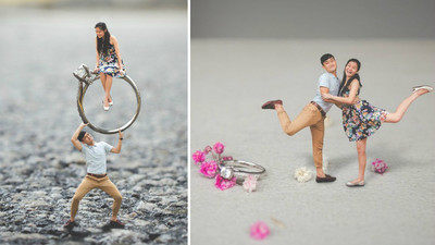 縮小!「拇指情侶」童話婚前照,戒指要改用扛的啦
