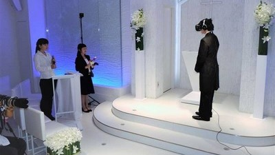 結婚典禮只有新郎看得到新娘 接吻瞬間棉花糖口感讓他好酥麻