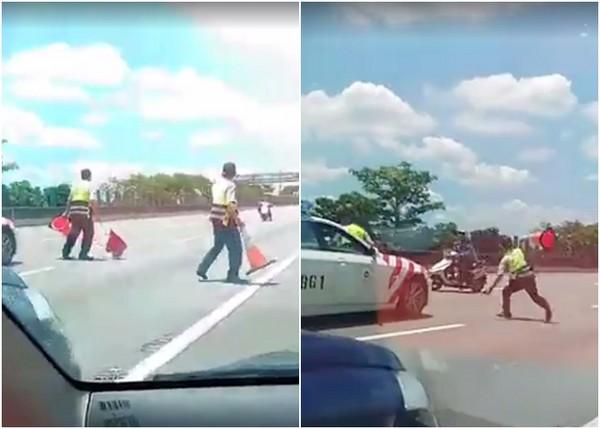 ▲▼阿公騎機車逆向上國道,遭警察三角錐擊落。(圖/網友楊志騰授權使用)
