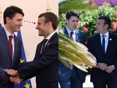 法總統與加拿大總理「最萌身高差」 合照深情對望像幅畫