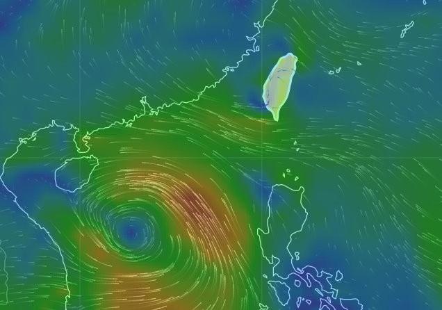 風場預報顯示圖。(圖/翻攝中央氣象局網站)