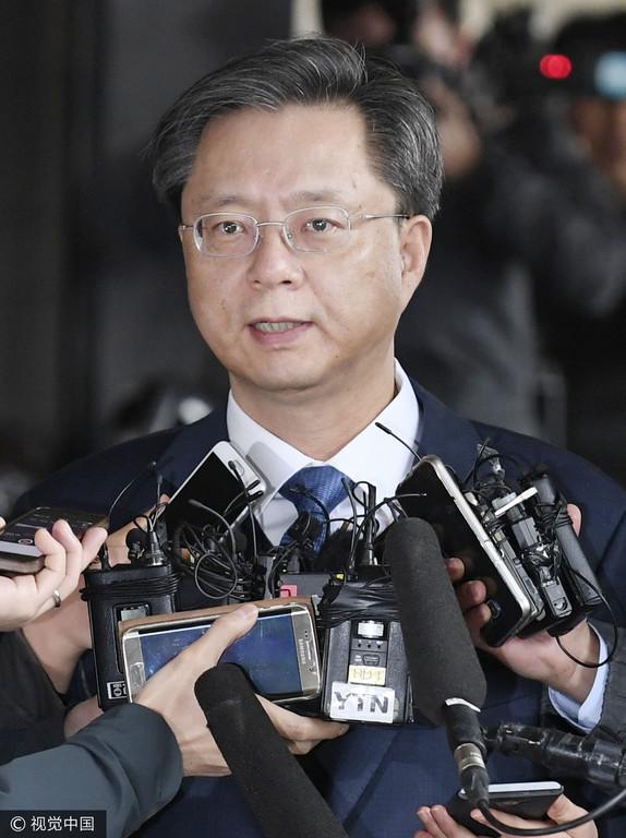 ▲韓國青瓦台前民政首席秘書禹柄宇接受問訊(圖/CFP)