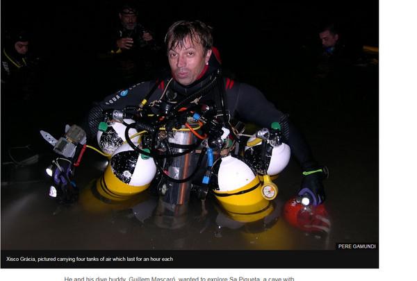 ▲西班牙教師賈西亞(Xisco Gracia)潛水受困大難不死,受困2天仍獲救。(圖/翻攝自BBC)