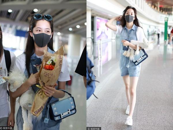 ▲歐陽娜娜、李宇春手抱玩偶。(圖/CFP)