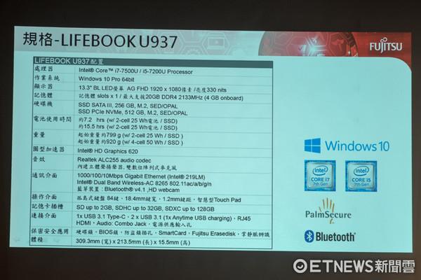 僅重799g的富士通Lifebook U937筆電動手玩。(圖/記者莊友直攝)
