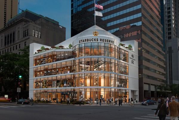 ▲芝加哥星巴克典藏咖啡建築外觀。(圖/news.starbucks)