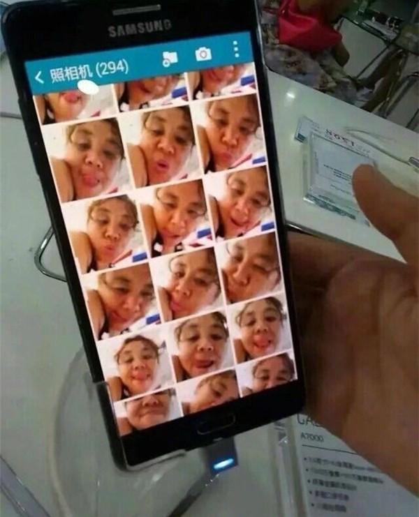 ▲▼中國網友逛手機專賣店,發現展示機裡滿滿大媽自拍。(圖/翻攝自微博,包爽)