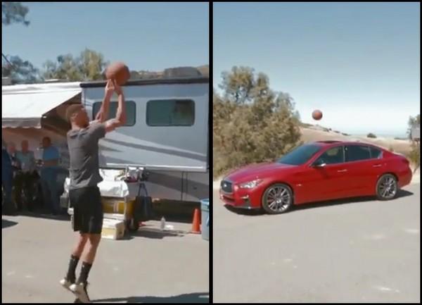 NBA巨星柯瑞再展長射美技!只是目標竟是代言車款的「天窗」(翻攝自Instagram)