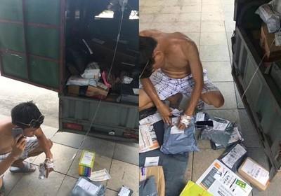 怕耽擱送件!中暑快遞員從醫院偷跑,邊打點滴邊送貨