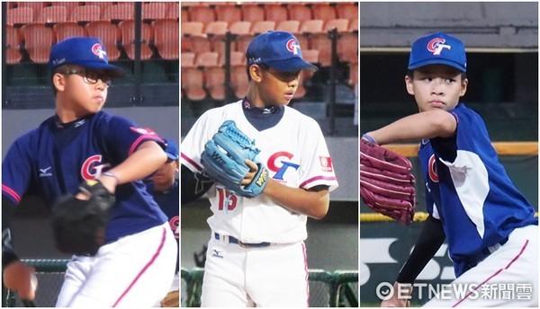 ▲U12中華隊3大先發投手左起陳睿豐、韓碩恆、孫易磊。(圖/記者楊舒帆攝)