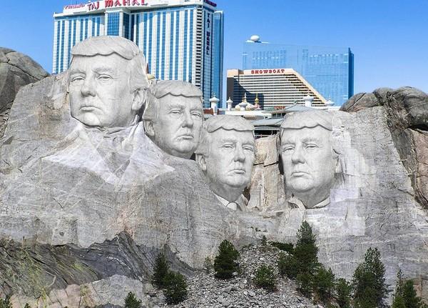 ▲▼網友惡搞美國總統,把川普P在拉什莫爾山(Mount Rushmore,美國總統雕像山)上面。(圖/翻攝自Twitter/Red T Raccoon)