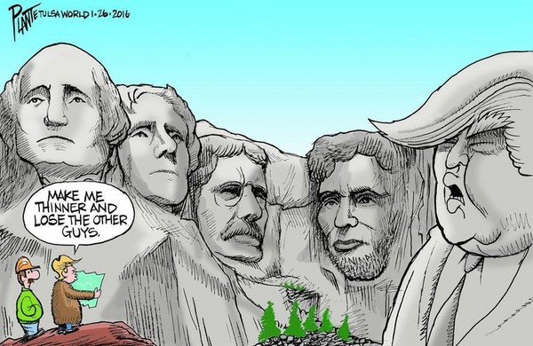 ▲▼網友惡搞美國總統,把川普P在拉什莫爾山(Mount Rushmore,美國總統雕像山)上面。(圖/翻攝自Twitter/vera kowalska)