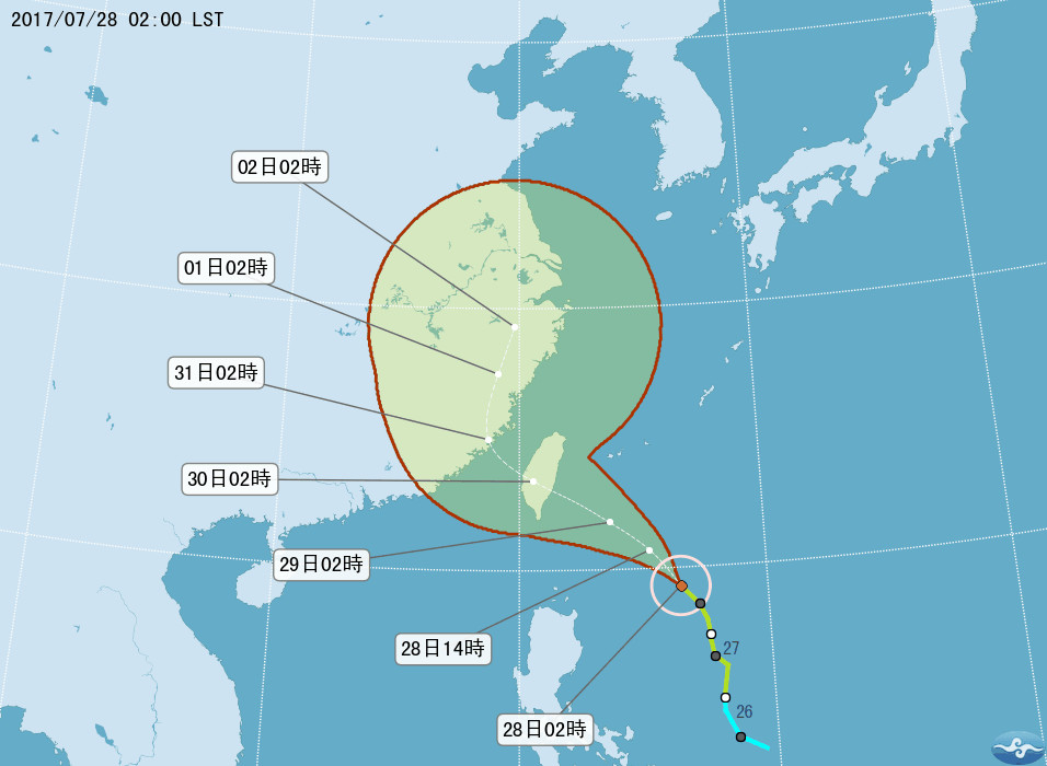 ▲尼莎颱風28日上午2時預測路徑。(圖/中央氣象局)