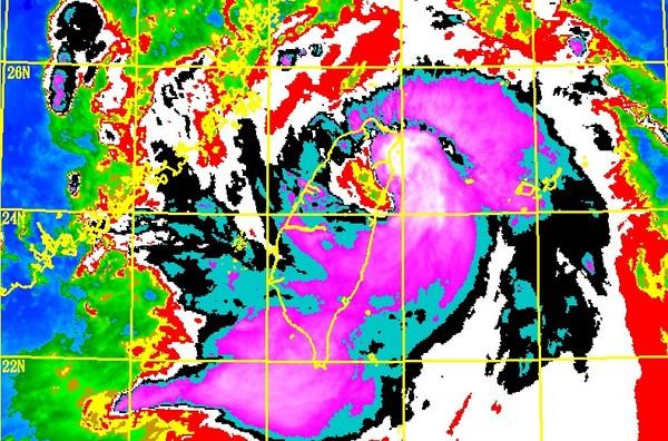 ▲尼莎颱風19:10從宜蘭蘇澳登陸。(圖/中央氣象局)