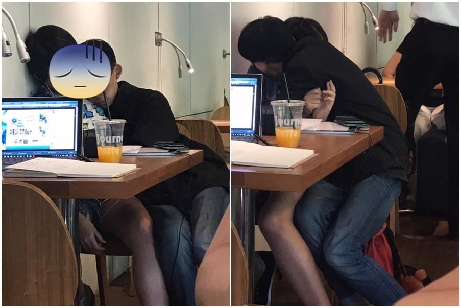 ▲情侶在咖啡店又摸又揉。(圖/翻攝自爆料公社)