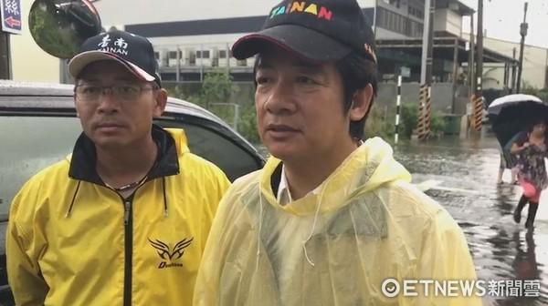 ▲台南市長賴清德指出,仁德工業區淹水是三爺溪通洪量不足。(圖/記者林悅翻攝)