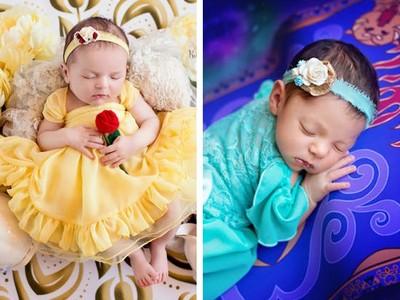 迪士尼公主剛出生的模樣?噓~貝兒拿著玫瑰睡得正熟呢