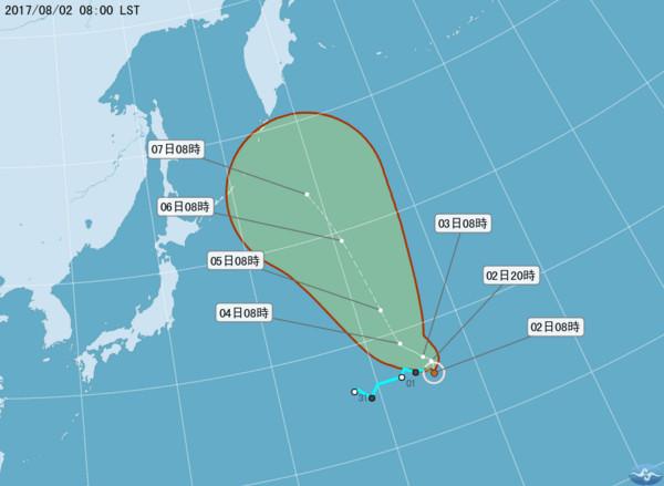 ▲第11號颱風奈格生成。(圖/中央氣象局)